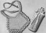1942 Bib and Bottle Warmer Set Crochet Patterns. The bottle warmer is designed to show just how much milk baby has