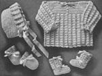 1942 Shell Stitch Baby Set Crochet Patterns: sacque, cap, booties and mittens. Size: 3 to 6 months.