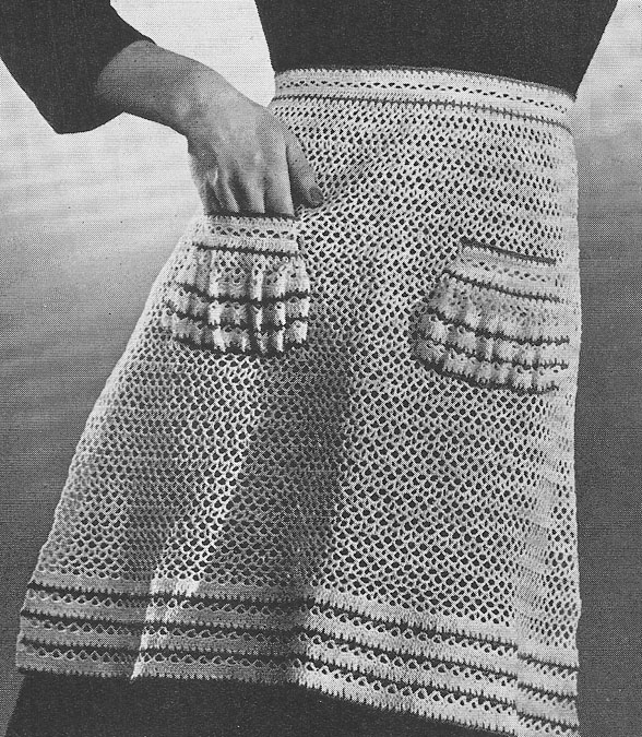 Kitschy Apron in Cotton Chenille - free knit apron pattern