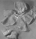 1948 Lacy Dress-Up Set Crochet Patterns: sacque, cap and booties. Infant size.