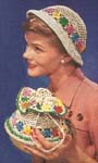 1950 Floral Hat and Bag Set Crochet Patterns. A small round basket, 6 inches in diameter is needed as base for the bag.