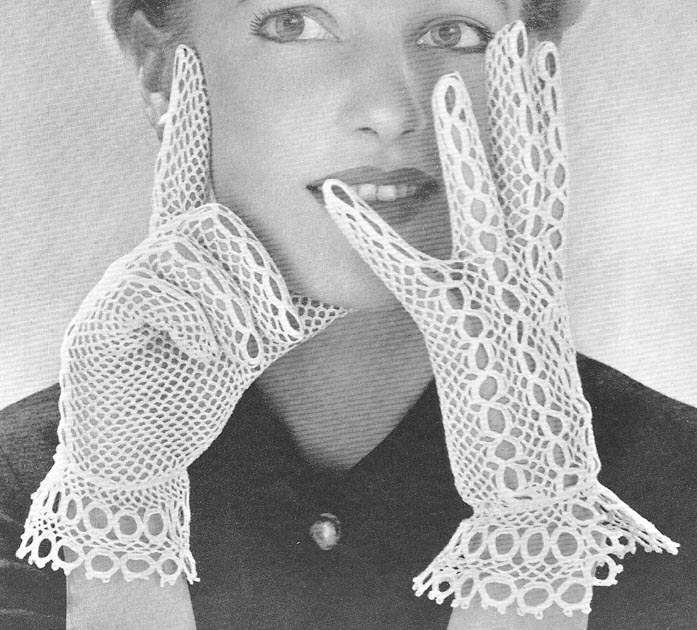 Vintage Crochet Fingerless Gloves Mitts PATTERN gothic | eBay