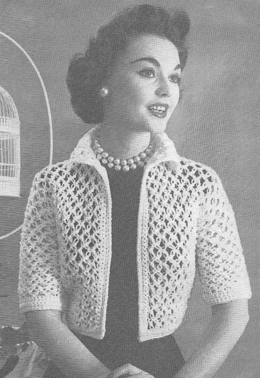 Vintage Knitted Bolero Bed Jacket Pattern