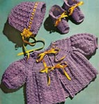 1952 Orchid Baby Set Crochet Patterns: Cap, Sacque and Bootees. Infant Size