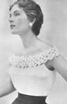 1955 Glamorous Evening Blouse Crochet Pattern. This most simple of blouses is worked in an all-over fabric stitch with a strip of flowers and leaves to make the yoke. Size: To fit a 34 to 36-inch bust.