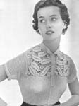 1955 Lacy Square Yoke Blouse Crochet Pattern. A charming version of the shirt waist blouse. The yoke has a delicate pattern of leaves and flowers, neatly fashioned at the neckline with a banded collar. Size: To fit a 34-inch bust.