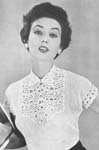 1955 Leaf and Flower Yoke Blouse Crochet Pattern. This is the ideal blouse to wear with a tailored town suit. Admirable in white, it could also be made in pastel colours, navy or black. Size: To fit a 34-inch bust.