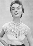 1955 Rose Yoke Blouse Crochet Pattern. Rose and leaf motif worked in strips are linked together to form the yoke, sleeves and collar of this delightful blouse. Size: To fit a 34 to 36-inch bust.