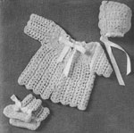 1956 Shell Stitch Infant's Set Crochet Patterns: sacque, bonnet and booties.