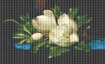 Giant Magnolias on a Blue Velvet Cloth by Martin J. Heade Cross Stitch Pattern