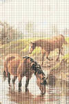 Horses by the River Cross Stitch Pattern
