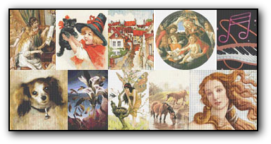 Counted Cross Stitch Patterns created by Annalaia using the art of Antique Masters, Modern Art, Vintage Postcards ... and featuring Flowers, Gardens, Animals, Cats, Dogs, Horses, Landscapes, Ladies, Fairies, ...